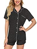 Ekouaer Womens Pajamas Short Sleeve Sleepwear Soft Sleep Set Button Down Dot Printed Christmas Pjs Set(BD1,Medium)