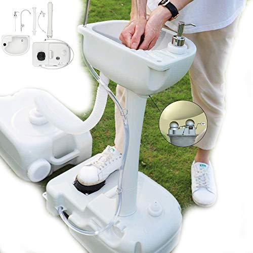 HOSUAI Camping Küche Handwaschbecken Tragbar Fußpumpen-Design Mit Handtuchhalter Seifenspender Frischwassertank Mobiles Waschbecken