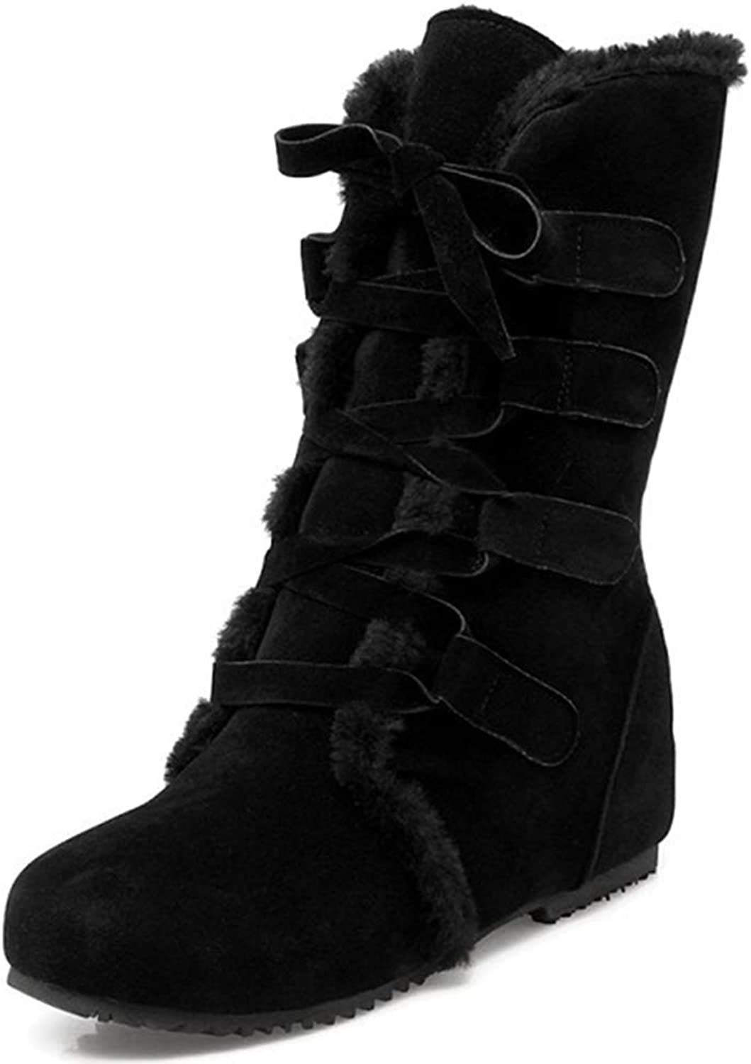 Beautiful - Fashion Women's Lace Up Snow Boots Round Toe Low Heels Winter Warn Fur Lined Platform Mid Calf Ankle Boots Booties