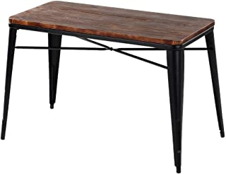 iKayaa Industrial Dining Table Antique Outdoor Indoor Kitchen Rectangular Table with Metal Legs Pinewood Top Dinette Table Furniture