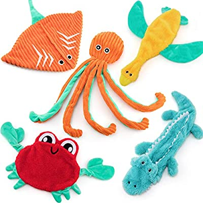 AWOOF 5 Pack No Stuffing Dog Toys, Cute Plush Dog Squeaky Toy Dog Chew Toy Puppy Teething Toy