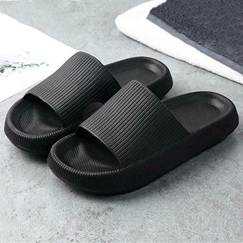 Aifono Sandalias universales Antideslizantes Gruesas de Secado rápido, Zapatillas de Interior para el hogar para Mujeres/Hombres, Sandalias de Ducha para Piscina (38-39) (Negro)
