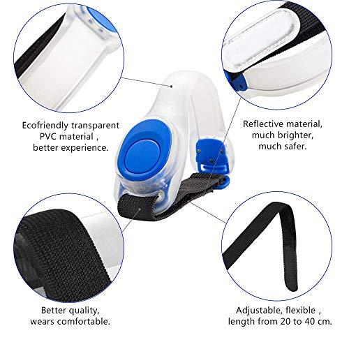 Alviller 2 Stuck LED Armband, Reflective LED Armbänder Leuchtband Reflektor Kinder Nacht Sicherheits Licht für Laufen, Joggen, Hundewandern, Bergsteigen, Running, Jogging und Outdoor Sports - 4
