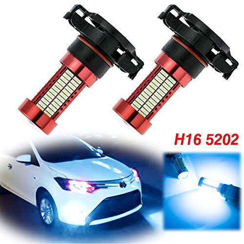 Xotic Tech Pair 106-SMD High Power 10000K Ice Blue H16 5202 LED Replacement Driving Fog Light Bulbs Compatible with Toyota