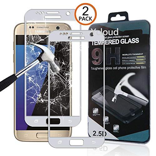 Ycloud [2 Pack Protector de Pantalla para Samsung Galaxy S7 (5.1 Pulgada) [Cobertura Completa] Vidrio Templado Screen Protector (Plata)