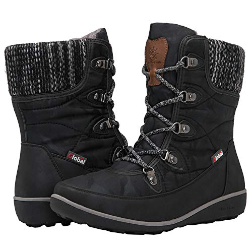 GLOBALWIN Women's 1841 Black Winter Snow Boots 8M