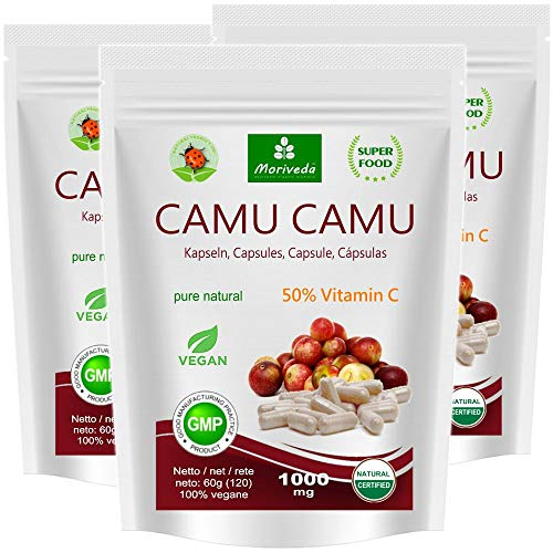 Camu Camu Cápsulas Extracto 8:1 con 50% de vitamina C natural (360 o 120 piezas) - producto de calidad vegana de MoriVeda (3x120)