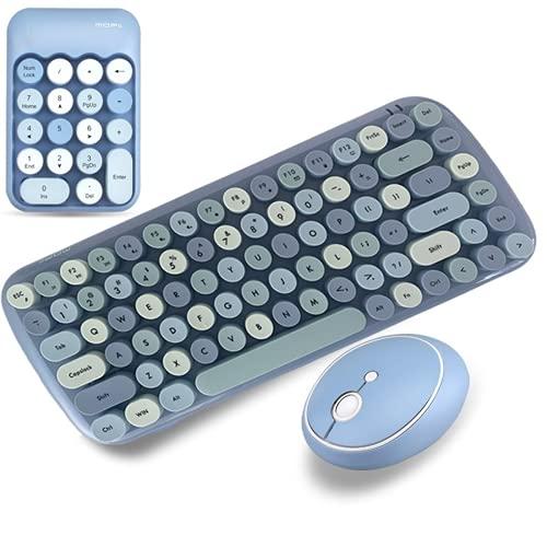 KJDS Combos Clavier sans fil pour ordinateur portable de bureau, pavé numérique sans fil 2,4 G Rose Girl Clavier et souris (Blue Full Set)