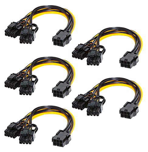 5PCS PCI-E 6-pin to Dual 6+2-pin (6-pin/8-pin) Power Splitter Cable Graphics Card PCIE PCI Express 6Pin to Dual 8Pin Power Cable