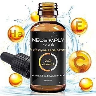 Best Vitamin-C Serum For-Face With Hyaluronic-Acid - Neo Simply Naturals - Vit. C 20 Vit. E - Anti Acne - Premium Rejuvenation Serum For Skin - Paraben Free - Best Anti Wrinkle Solution (1 Oz. / 30ml)