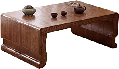 Solid Wood Coffee Table Balcony Tea Table Calligraphy Table Living Room Low Table Tatami Table (Color : Brown, Size : 60x40x30cm)