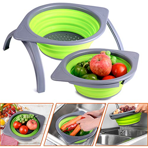 Goodking Collapsible Colander Strainer Storage Basket Drainer for Fruit Vegetable SpaceSaver Folding Mesh With Durable Stands Dish Tub for Kitchen Outdoor Travel Camping