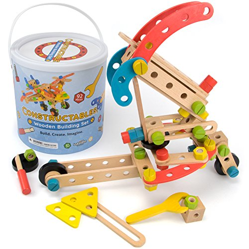 Product Image of the Imagination Generation Constructables! 92-Piece Wooden STEM Building Block...