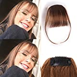 Clip in Air Bangs 100% Human Hair Extensions with Temples Clip on Hairpiece Accessories Flat Fringe Hand Tied thin Bangs Fake Bangs for Women(Medium Brown)