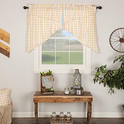 VHC Brands Annie Buffalo Check Country Kitchen Prairie Swag Set Farmhouse Cotton Window Treatment Curtain, 36x36x18, Tan
