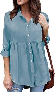OTW قمصان نسائية فضفاضة من الشيفون بأزرار سفلية صلبة قابلة للطي لأعلى كم