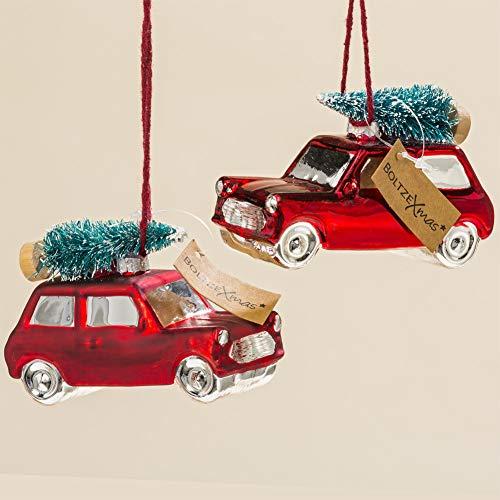 Boltze Christbaumschmuck Auto mit Tanne Weihnachtskugel rot Baumschmuck Set 2 TLG. Weihnachten Weihnachtsdeko
