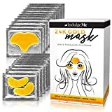 24K Gold Under Eye & Forehead Collagen Patches - Reduce Puffy Eyes, Dark Circles, Wrinkles - Eye Mask Gel Pads Facial Treatment with Nano Gold, Hyaluronic Acid and Grape Seed Extract