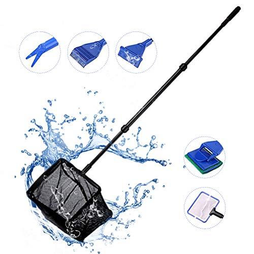 Qeedio Fish Tank Clean Kit 6-in-1 Multifunctionele Aquarium Uitbreidbare Handvat Telescopische Reinigingsgereedschap met Algen Schraper Raam Sponge Borstel Grind Rake Plant Vork Vissen Net Lepel Net