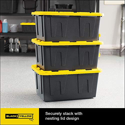 Original BLACK & YELLOW 27-Gallon Tough Storage Containers with Lids, Stackable, (4 Pack)