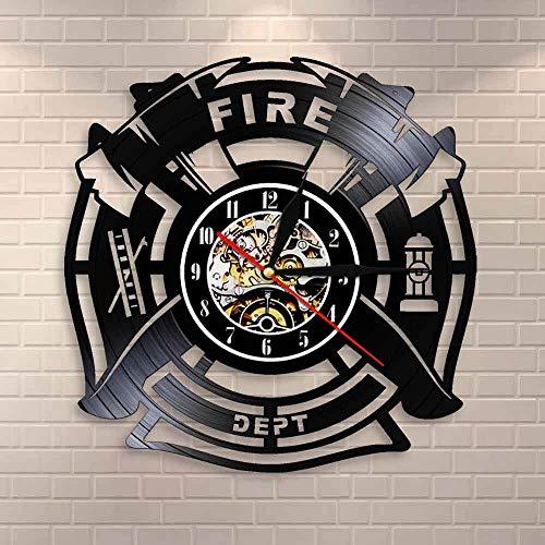 Tbqevc Reloj de Pared de Vinilo con Grabado de Bombero, Reloj de Pared con decoración de Logotipo de Rescate de Incendios para Hombres, 12 Pulgadas