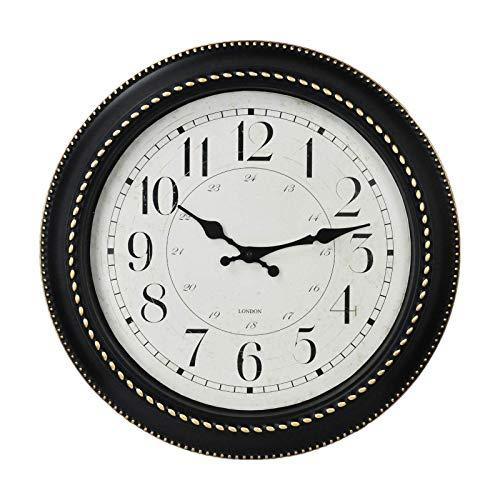 Reloj de Pared Retro de 40 cm silencioso Redondo sin tictac para decoración del hogar Reloj de Pared para el hogar/Oficina/Escuela (Negro 40 cm)