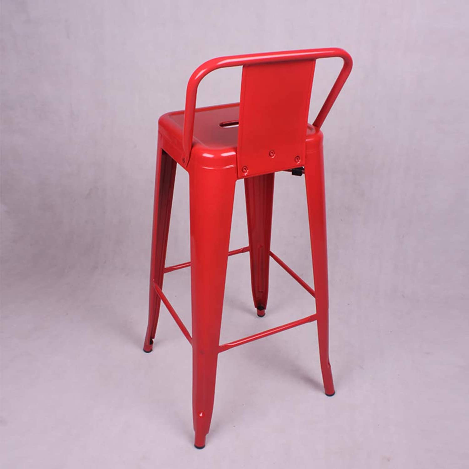 Short Back Bar Stool Bar Stool Iron Bar Chair Metal Malay Stool Fast Food Modern Minimalist Chair (color   RED)