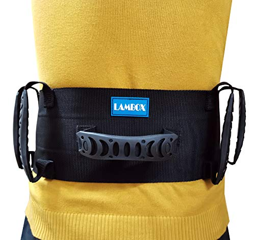 LAMBOX Gait Belt-Walking Transfer Belt with Handles-Medical Nursing Safety Patient Assist for Occupational & Physical Therapy, Seniors with Metal Buckle