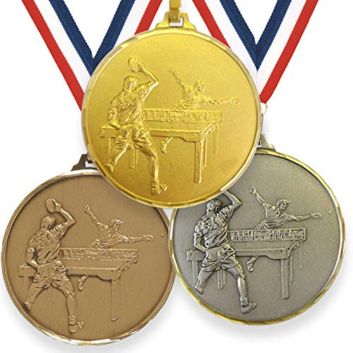 Trophy Monster Medalla de tenis de mesa de alta definición de 52 mm con cinta de latón | oro, plata o bronce