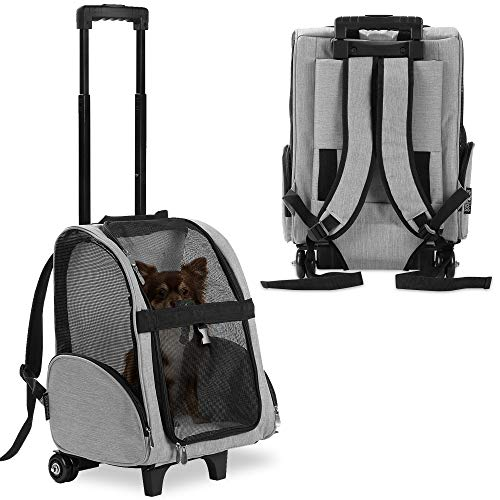 KOPEKS Deluxe Backpack Pet Travel Carrier with Double Wheels - Heather Gray - Approved by Most Airlines