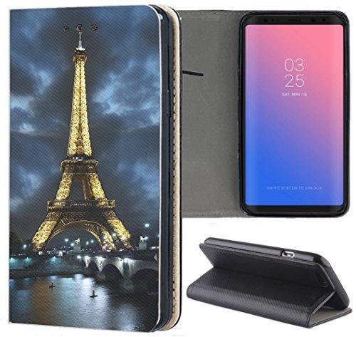 Samsung Galaxy S9 Hülle Premium Smart Einseitig Flipcover Hülle Galaxy S9 Flip Hülle Handyhülle Samsung Galaxy S9 Motiv (394 Eifelturm Paris Frankreich bei Nacht Blau Gelb)