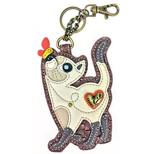 Chala Key Fob/Coin Purse - Slim Cat, Multicolored, Small