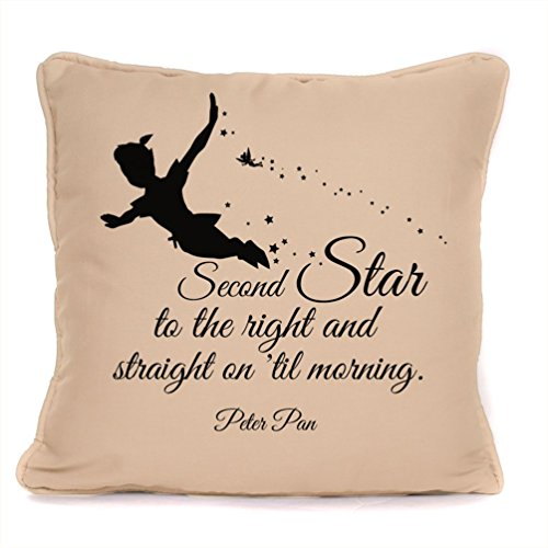 Four Leaf Clover Gift Shop Peter Pan Quote 'Second Star to The Right' Throw Pillowcase |18x18 Inch Disney Cushion Pillow Cover