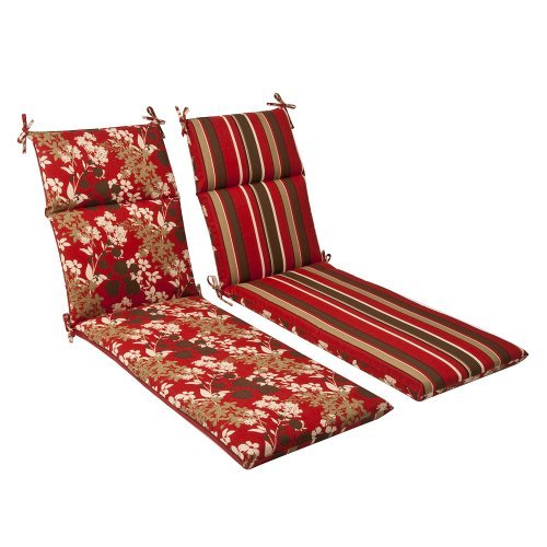 Pillow Perfect Indoor/Outdoor Red/Brown Floral/Striped Reversible Chaise Lounge Cushion by Pillow Perfect