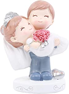 EXCEART Cartoon Couples Cake Figurines Resin Wedding Cake Topper Cake Dessert Topper Miniature Fairy Garden Ornament for Birthday Home Party