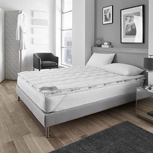 Gaveno Cavailia Aircloud Dual Layer 6cm Breathable Microfiber Mattress Bed Topper Super King Size, Microfibre, White, superking