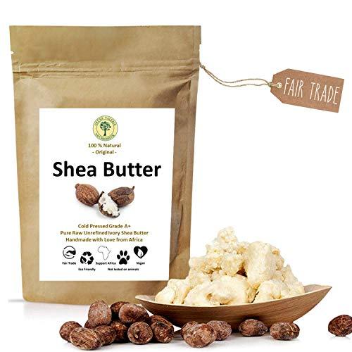 Grüne Valerie - Ivory Shea Butter - Kaltgepresst (Grad A+) pur & rein 250 g - frisch, unraffiniert - Das Beste vegane Hautpflegeprodukt aus dem fairen Handel