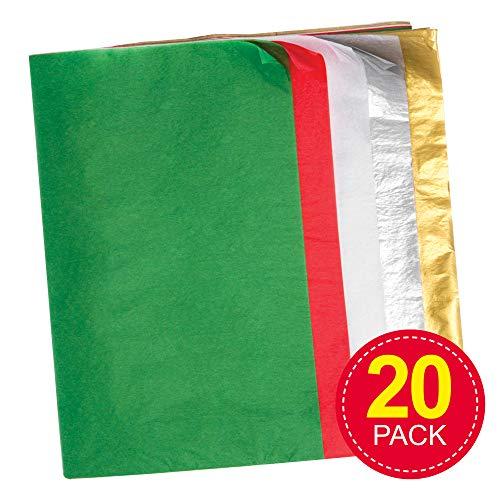 Baker Ross Papel de seda de navidad - Materiales creativos para niños, manualidades y decoraciones (paquete de 20)