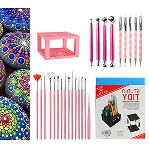 Lowral 25pcs / Set Mandala Dotting Tools, Ball Stylus Brush Pen Holder para Pintar Rock Drawing Drafting Art Supplies Stylus Brush Pen Holder