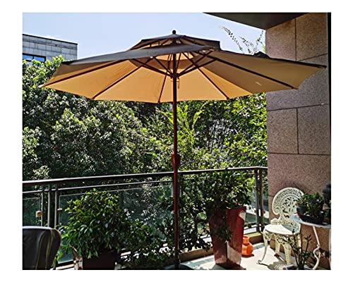 F-XW Sombrilla Parasol de ø270cm Sombrilla Playa Proteccion UV con Sistema de elevación de manivela, 8 Costillas, Verde Caqui Rojo (Color : Khaki)