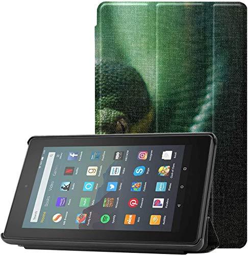 Carcasa Fundas y carcasas para Kindle Fire 7 Green Tree Python Morelia Viridis Funda para Kindle totalmente nueva para tableta Fire 7 (novena generación, versión 2019) Ligera con suspensión / activac