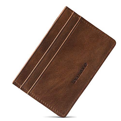 Material: Cuero genuino, Color: Marrón Tamaño: 10x7x0.2cm Estructura: 3 ranuras para tarjetas, 1 bolsillos para billete o recibo. Pequeño y perfecta para llevar en el bolsillo sin molestias ,Se trata de un tarjetero de calidad , fabricada en piel sua...
