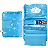 Jubi® Windeltasche mit Wickelunterlage für unterwegs mit großer Feuchttücheröffnung - Kleine Wickeltasche mit extra viel Platz - Blau mit Pusteblumen