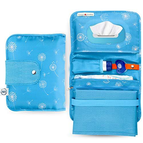 Jubi® - Bolsa para pañales con cambiador para viajes con gran apertura para toallitas húmedas, pequeño bolso cambiador con mucho espacio, azul con diente de león
