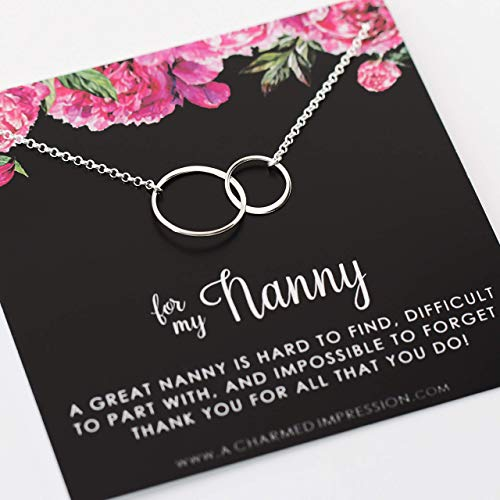 Gift for Nanny Babysitter ï Gifts Appreciation ï Sterling Silver Necklace ï Birthday Gift for Nanny from Kids ï Best Nanny ï Child Caregiver Gifts for Women ï Impossible to Forget