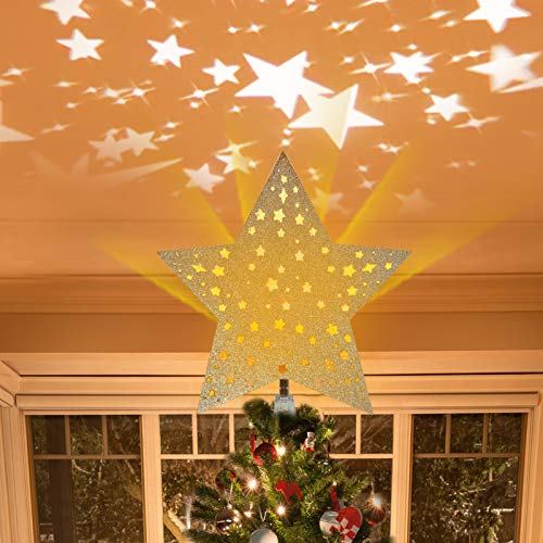 Angela&Alex Christmas Tree Topper, Golden Star Tree Topper Lighted with Rotating Star Projector LED Lights 3D Hollow Glitter Star Tree Topper for Indoor Christmas Tree Decorations