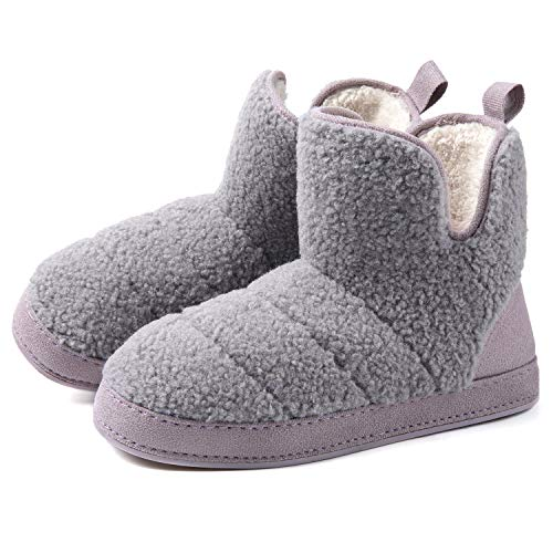 RockDove Damen Fuzzy Fleece House Bootie Damen Memory Foam Slipper mit Gummisohle, Violett (Distelgrau.), 42 EU