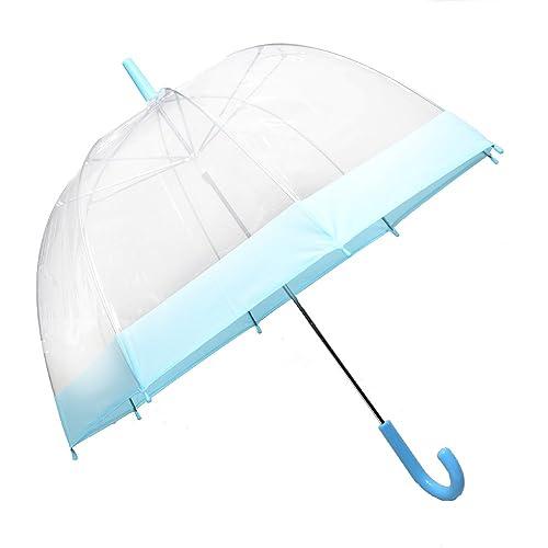 "Large 31/"" Clear See Through Dome Umbrella Ladies Transparent Walking Rain Brolly"
