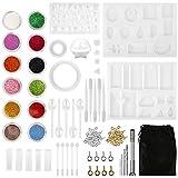 Kit de moule de moulage en résine, HONEYWHALE 94 pièces moules de bricolage bijoux artisanat avec sac moule en résine époxy de Silicone pour les amateurs d'artisanat d'art