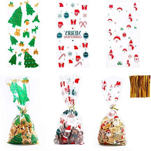 CHEPL 200pcs Bolsas de Celofan Navidad Bolsas para Chuches Transparente Bolsitas de Regalos de Dulces con 200pcs Lazos de Torsión para Confeti de Aperitivos Dulces Galletas